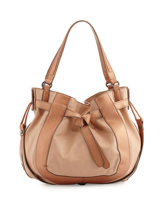 Parker Leather Hobo Bag, Nude/Bronze