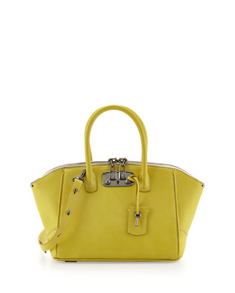 Brera 26 Mini Calfskin Satchel Bag, Yellow