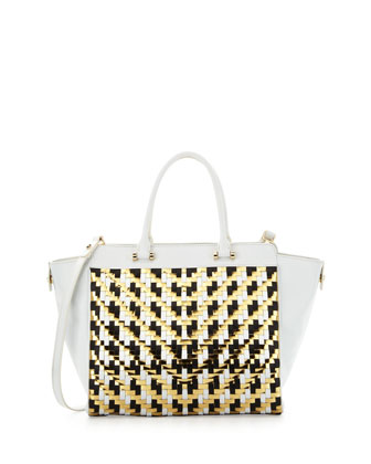 Dylan Woven Leather Tote Bag, White