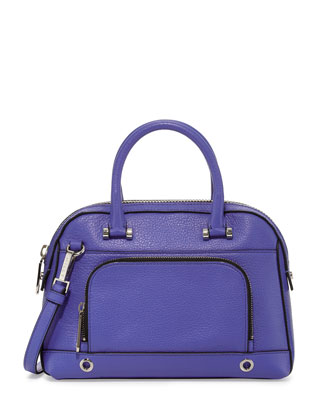 Astor Small Pebbled Satchel Bag, Cobalt