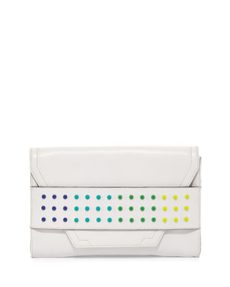 Colored-Dot Leather Clutch Bag, White