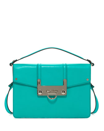 Bryant Leather Flap Crossbody Bag, Turquoise