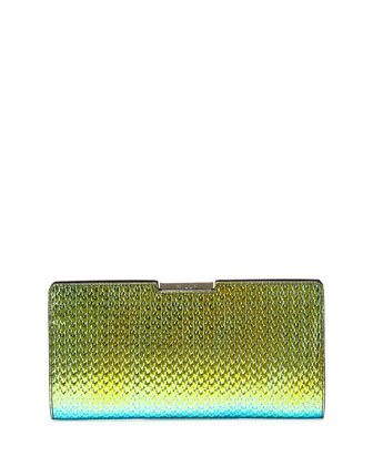 Miley Holographic Frame Clutch Bag, Green/Blue