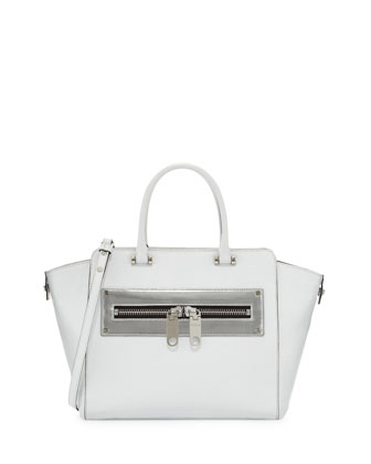 Riley Leather Tote Bag, White