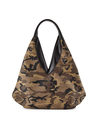 Camo Canvas Knapsack Hobo Bag, Multi