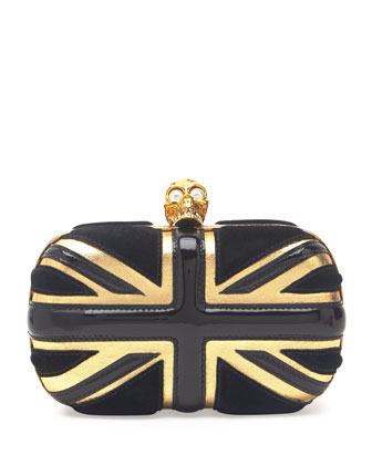 Britannia Skull-Clasp Clutch Bag, Black