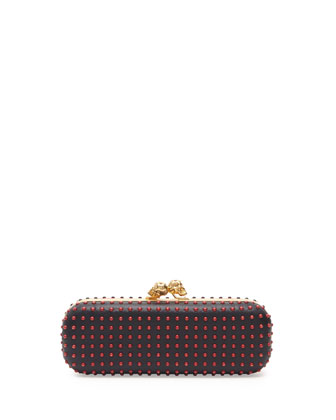 Bicolor Twin-Skull Box Clutch Bag, Red/Black