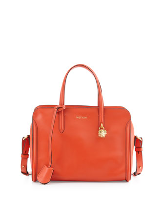 Skull Padlock Zip-Around Satchel Bag, Orange