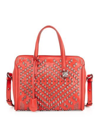 Studded Padlock Small Zip-Around Satchel Bag, Red