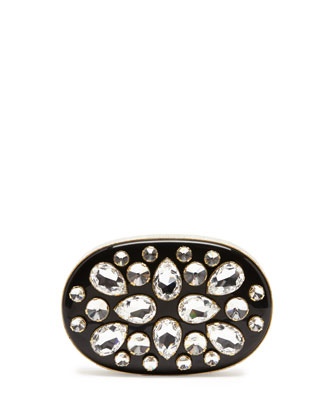 Crystal Oval Minaudiere, Black