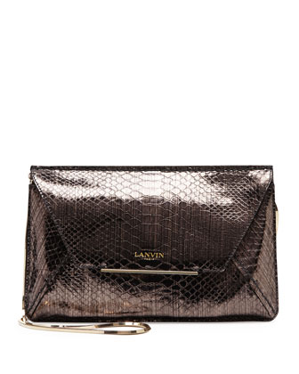 Snake-Print Envelope Crossbody Bag, Bronze