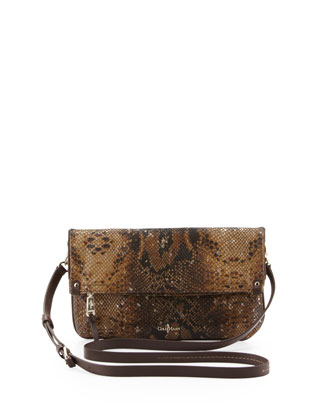 Parker Snake-Print Leather Crossbody Bag, Chestnut