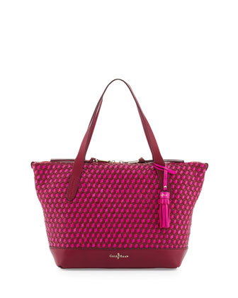 Parker Woven Zip-Top Shopper Tote Bag, Winery/Orchid