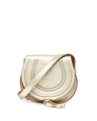Marcie Small Metallic Crossbody Bag, Gold