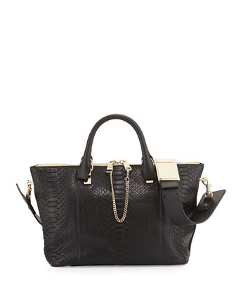 Baylee Python Medium Shoulder Bag, Black