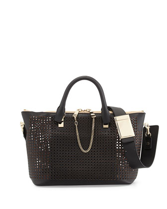Baylee Perforated Shoulder Bag, Black