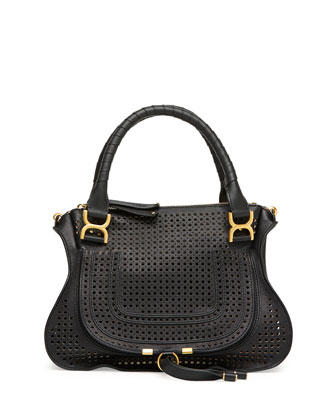 Marcie Perforated Medium Shoulder Bag, Black