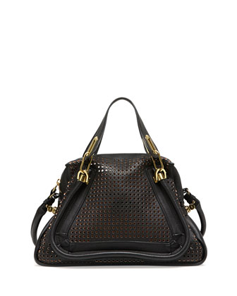 Paraty Perforated Shoulder Bag, Black