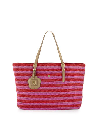 Jav III Squishee Striped Tote Bag, Red/Aster