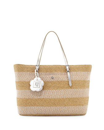 Jav III Squishee Striped Tote Bag, Frost/White