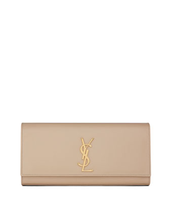 Cassandre Calfskin Clutch Bag, Cream