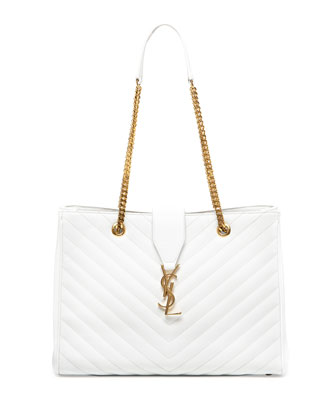 Monogramme Chain-Strap Shopper Bag, White