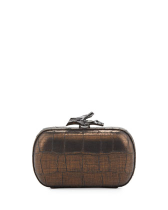 Lytton Croc-Embossed Clutch Bag, Black-Bronze