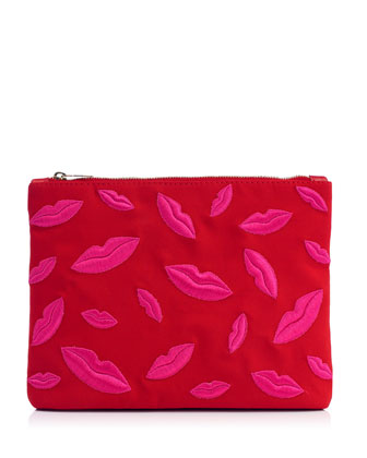 Kiss Me Lips Zip Pouch, Red