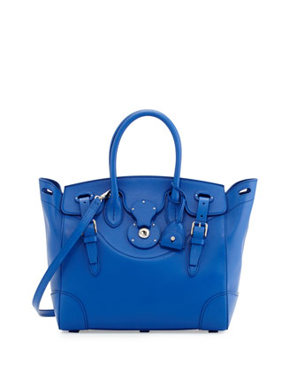 Soft Ricky 33 Medium Soft Calfskin Satchel Bag, Royal