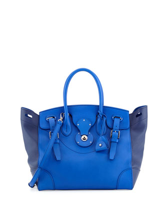 Soft Ricky 33 Medium Bicolor Satchel Bag, Royal