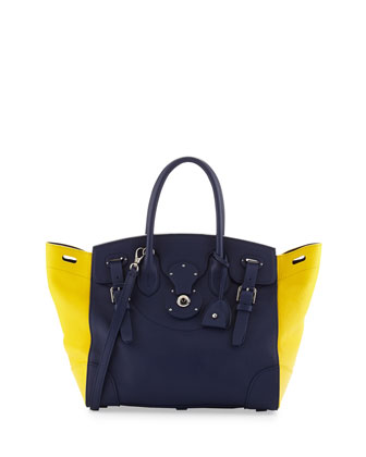 Soft Ricky 33 Medium Bicolor Satchel Bag, Blue/Yellow