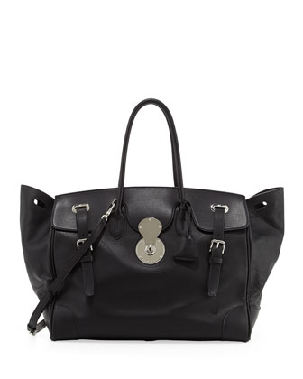 Ricky 40 Large Calfskin Satchel Bag , Black