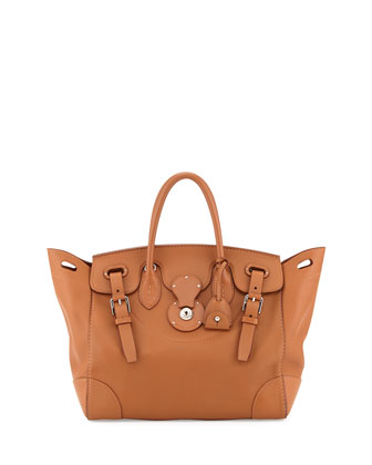 Soft Ricky 33 Medium Soft Calfskin Satchel Bag, Tan
