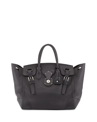 Soft Ricky 33 Medium Soft Calfskin Satchel Bag, Black