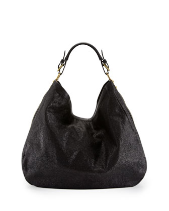 Noelle Studded Metallic Hobo Bag, Black