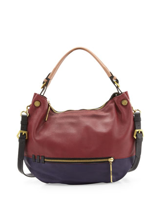 Olivia Colorblock Convertible Hobo Bag, Cabernet Multi