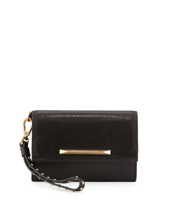 Tippy Leather Flap Wristlet Clutch Bag, Black