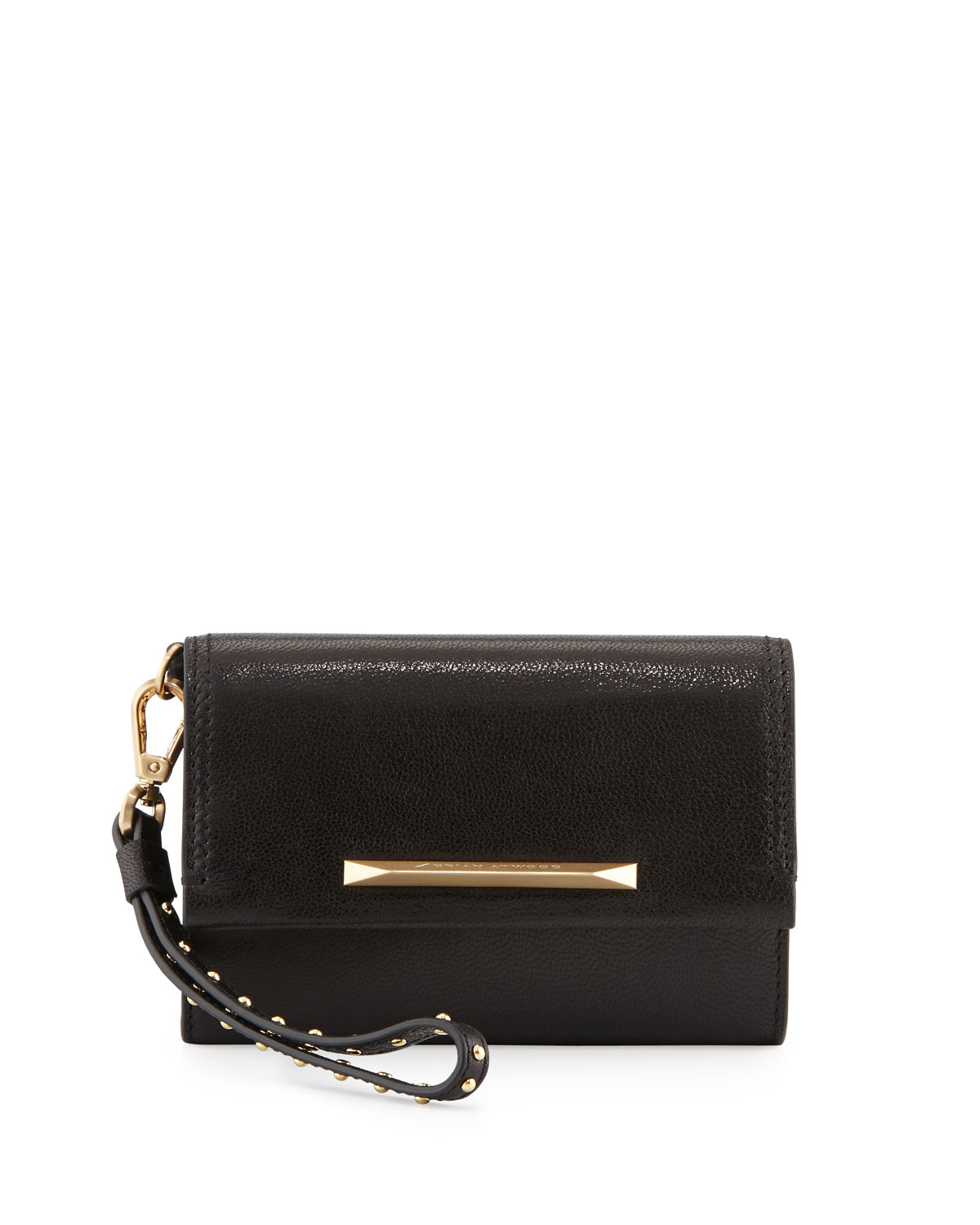 Tippy Leather Flap Wristlet Clutch Bag, Black   B Brian Atwood
