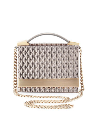 Ava Pyramid Chain-Strap Shoulder Bag, Gunmetal