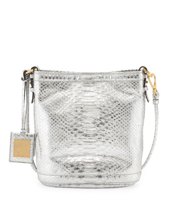 Britt Metallic Python-Print Shoulder Bag, Silver Foil