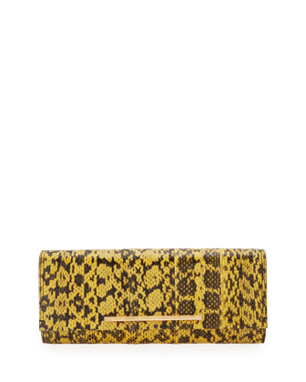 Ingrid Watersnake Clutch Bag, Yellow