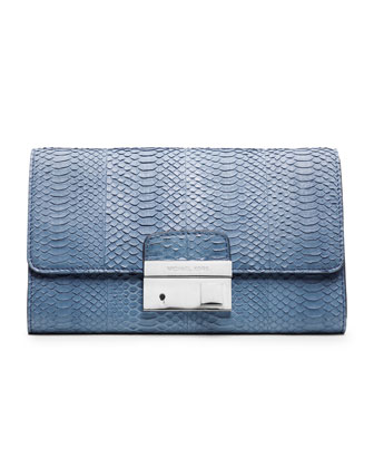 Gia Snake-Embossed Clutch