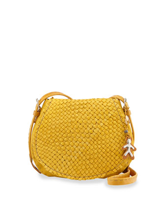 Stella Extra-Small Woven Crossbody Bag, Yellow
