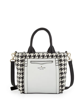 claremont drive marcella small houndstooth tote bag, black/cream
