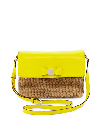 vita limoni clara straw shoulder bag, vivid yellow
