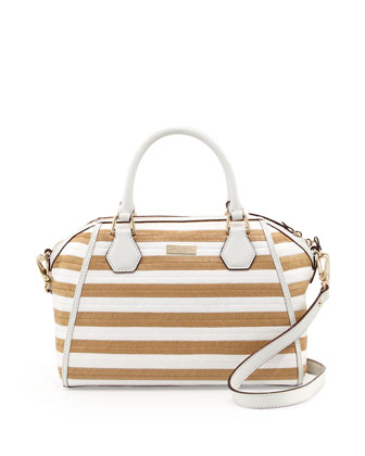 catherine street pippa striped straw satchel bag, fresh white/natural