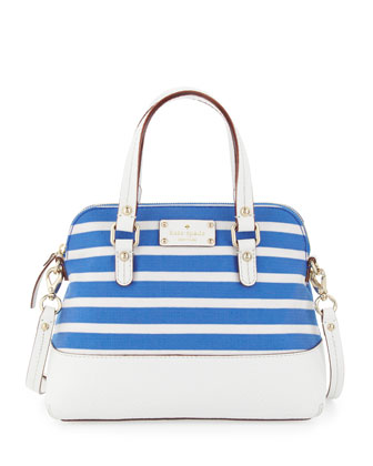 grove court striped maise satchel bag, azure blue/white