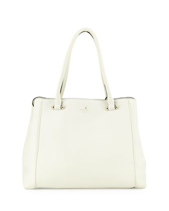 charles street leather tote bag, cream