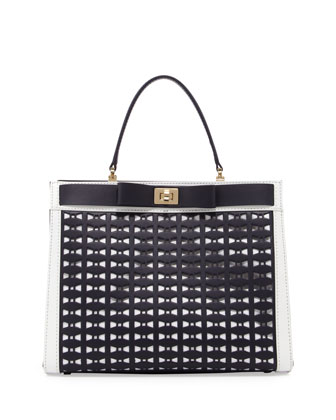 mayfair drive perforated tullie satchel bag, true navy