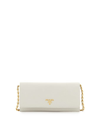 Saffiano Wallet on a Chain, White (Bianco)
